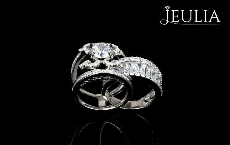 Jeulia Halo Split Shank Cushion Cut White Sapphire Engagement Ring