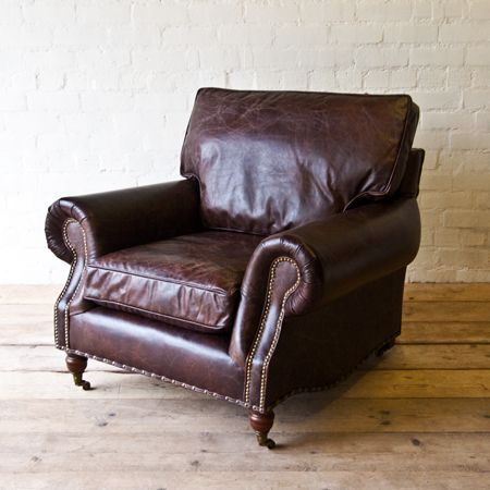 Hand Upholstered In Rich Vintaged Soft Distressed Leather, This Lounge  Style Vintage Leather Armchair Has Been Given That Worn Look.