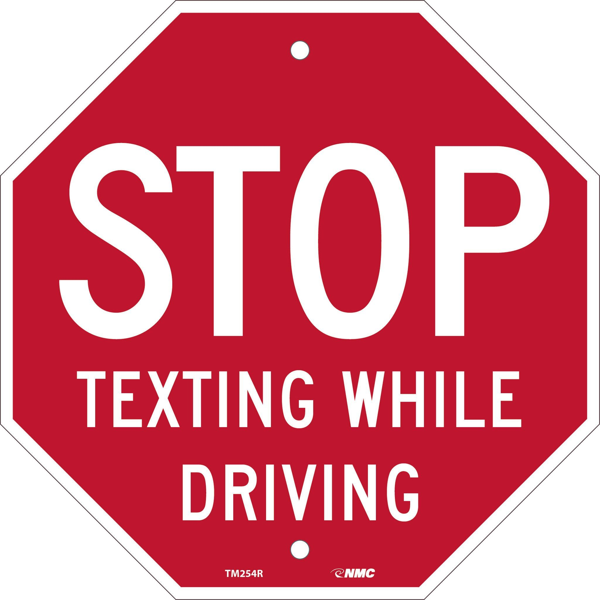 """Stop Texting While Driving, National Marker TM254R, 12""""x12"""