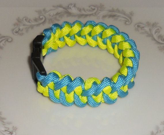 PARACORD BRACELET Aqua and Neon Yellow with Black Buckle - *Survival Gear - *550 Paracord - *Survival Bracelet - *Paracord Accessories