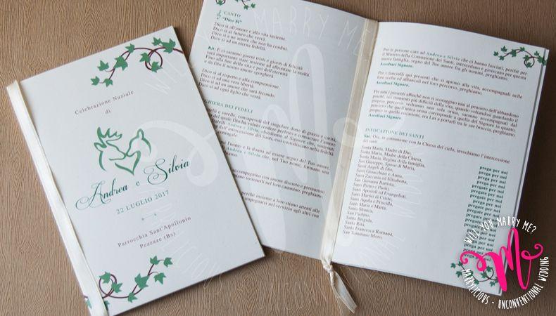 Libretto Messa Matrimonio Edera Impreziosito Con Nastro In Doppio Raso Con Grafica Personalizzata Curata Nel Dettaglio E Realizzata In Esclusiv Matrimonio Spose