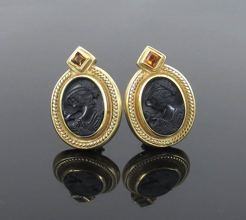Vintage 0.60ct Citrine & Onyx Cameo 18K Yellow Gold Earrings