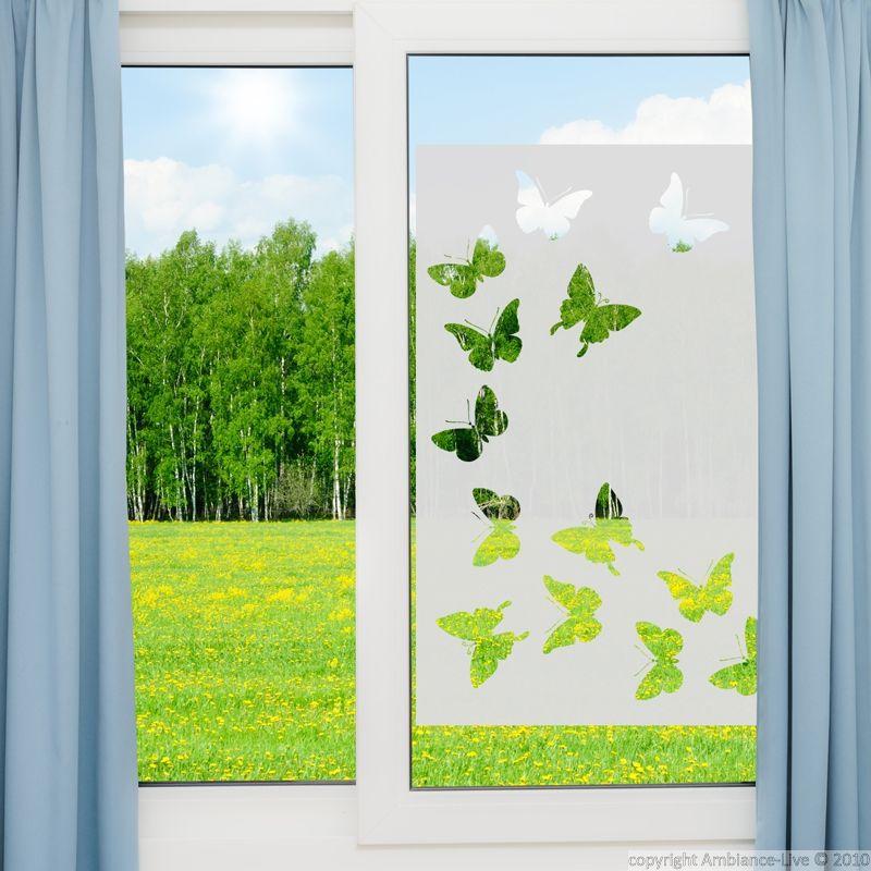 Sticker vinyle sabl pour vitre papillons 85x55cm sticker vitre vinyl doors window - Film vitre salle de bain ...