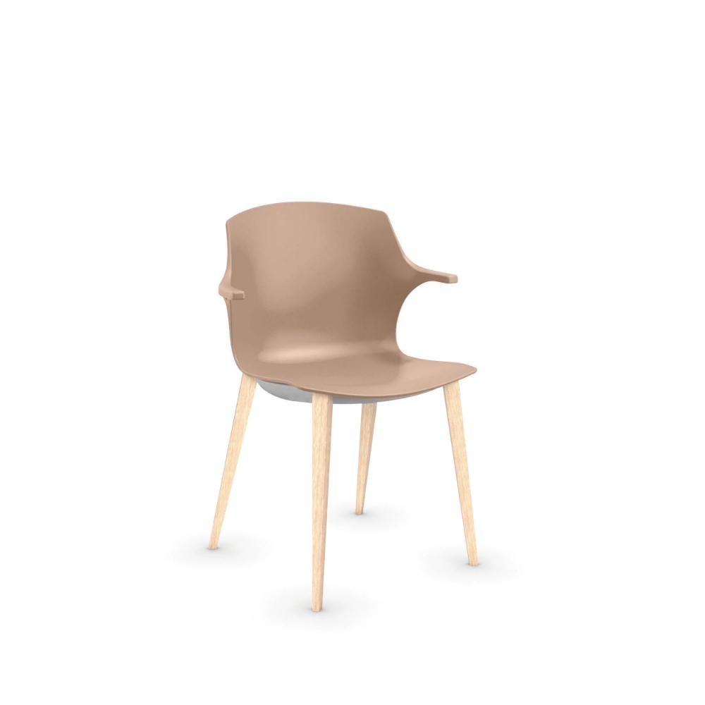 Chaise FRIZZY avec accoudoirs. Piétement bois frêne blanchi