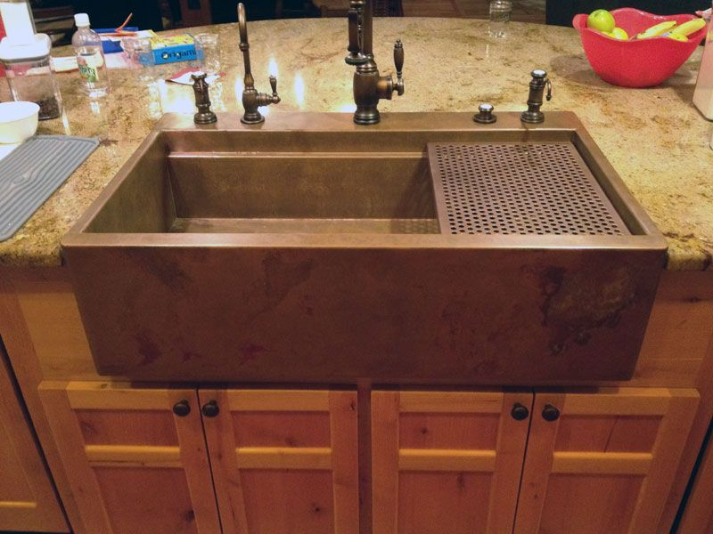 Top Mount Retrofit Copper Apron Signature Series Sink By Rachiele. The  Patented Channel Behind The Apron Allows For The Sink To Slip Over The Face  Frame Of ...