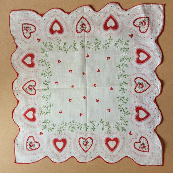 Vintage Valentine hankie hearts and flowers by PennyPaperCompany