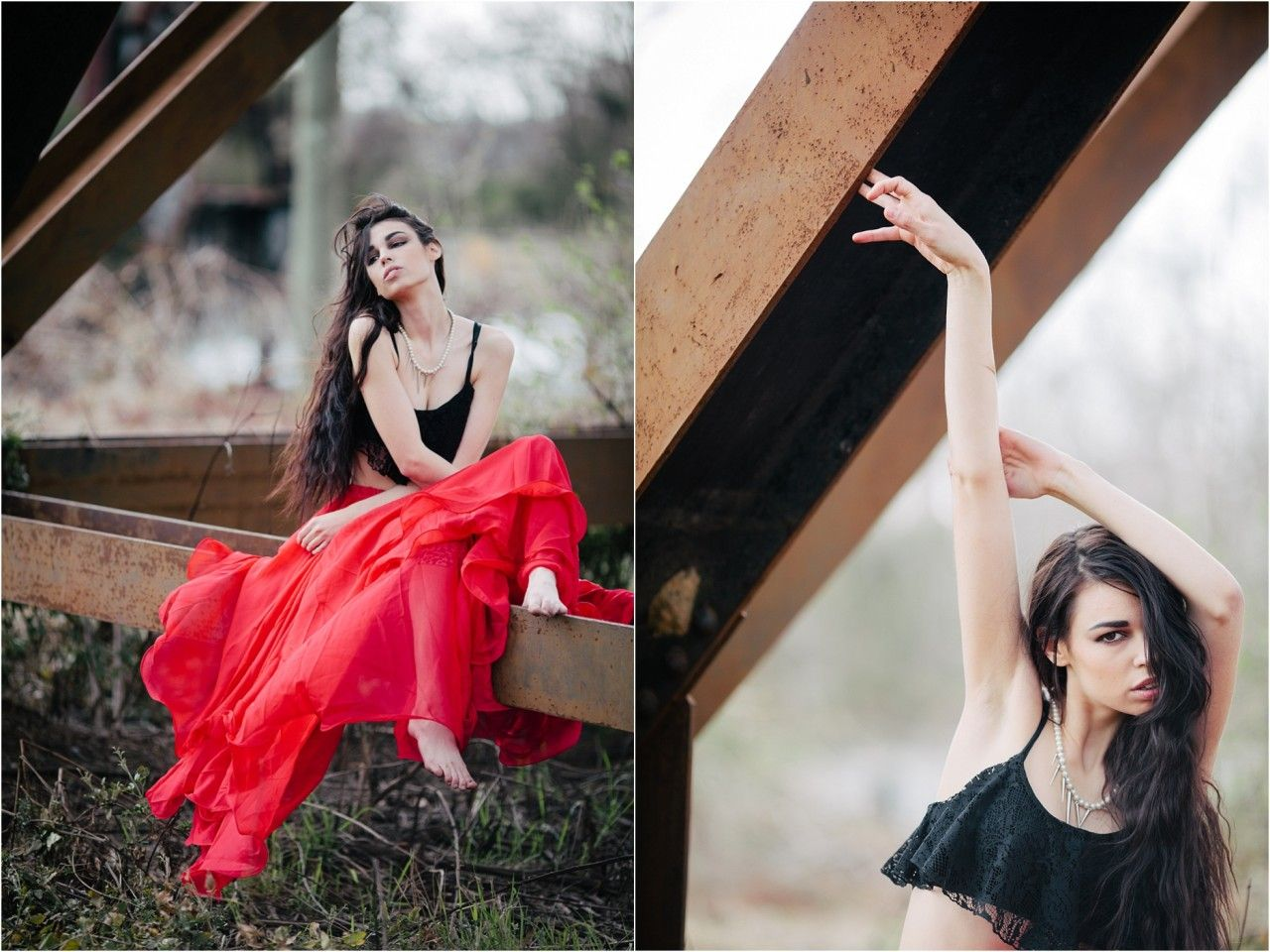 posing women, flamenco inspired fashion photography, red