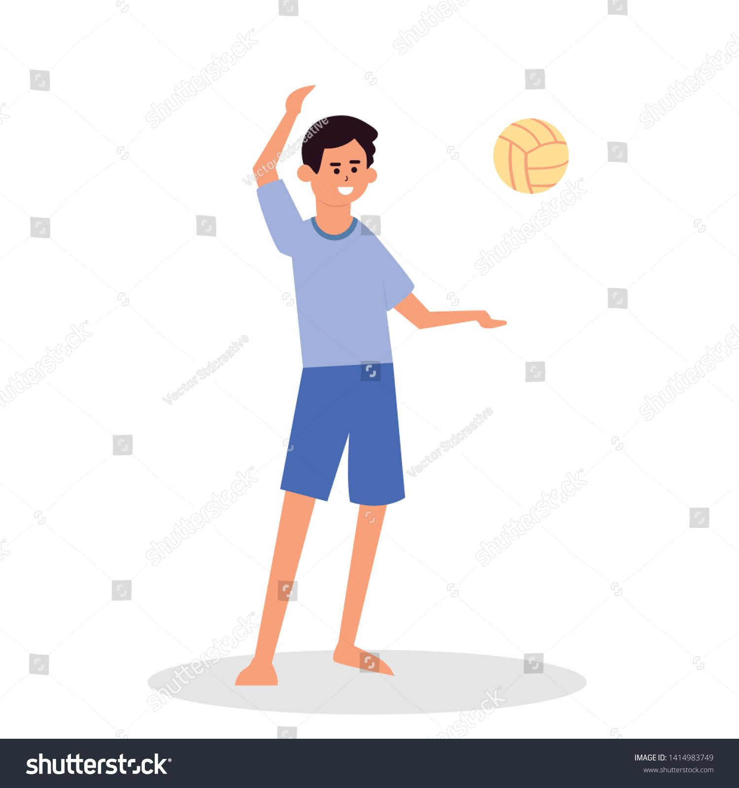 Summer Activities And Sport On Beach Flat Cartoon Happy Boy Play Volleyball Throwing Ball Happy Smiling Men Having Fun Boys Playing Cartoon Boy Smiling Man