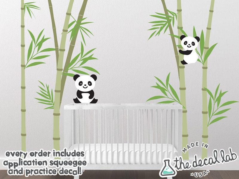 Baby Nursery Wall Decal Bamboo And Panda Vinyl Wall Decals Scene - Vinyl wall decals bamboo