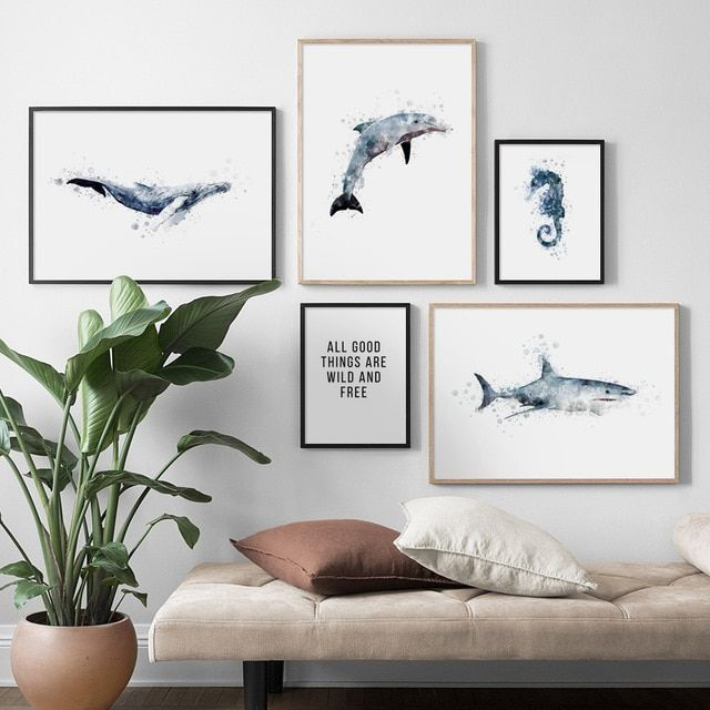 Coolwall Decor: Watercolor Shark Dolphin Whale Seahorse