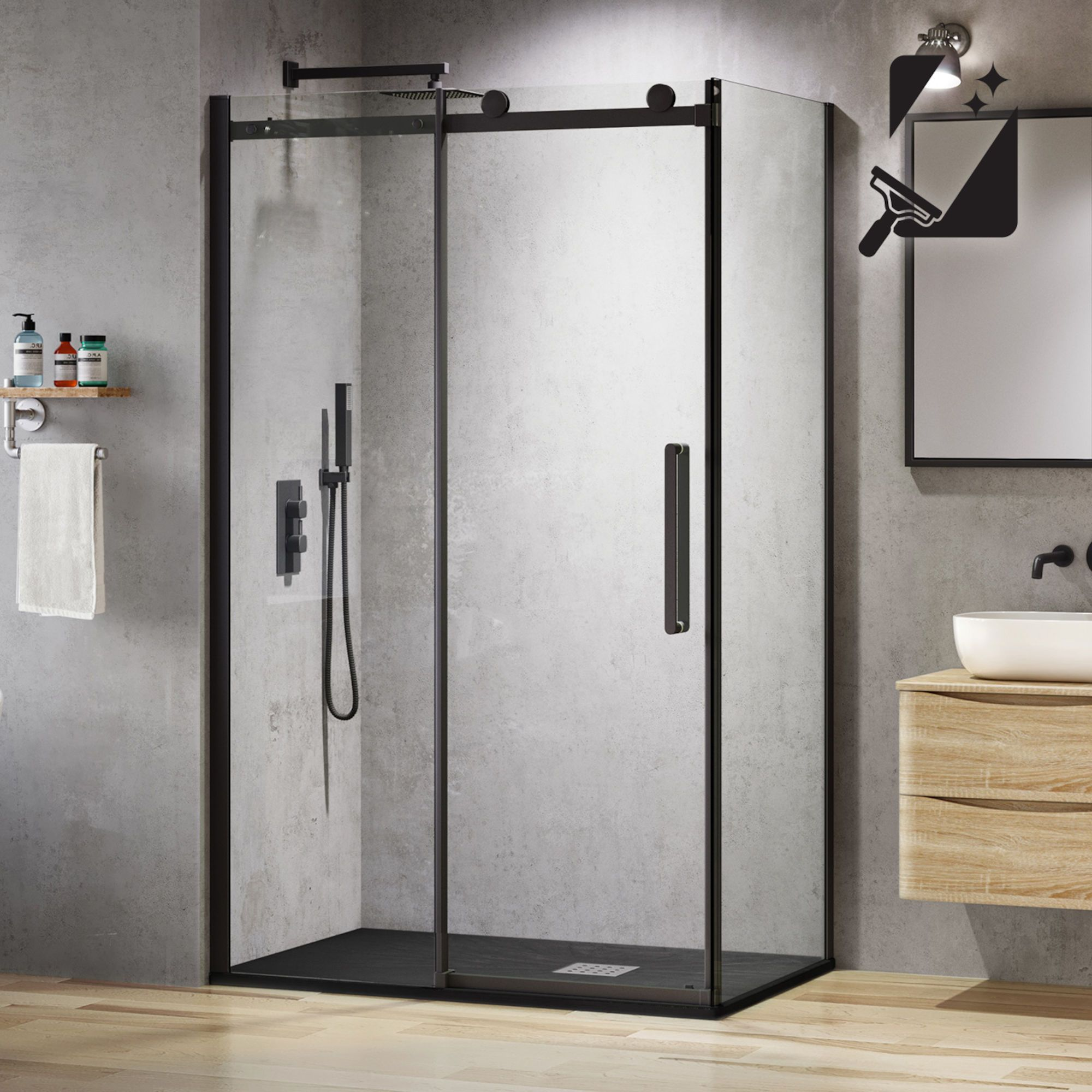 1200x800mm 8mm Designer Black Frameless Easyclean Sliding Door Shower Enclosure Black Shower Doors Sliding Shower Door Quadrant Shower Enclosures