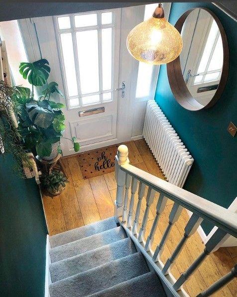 Teal Blue-Green Modern Hallway. Oh Hello Artsy Doormats