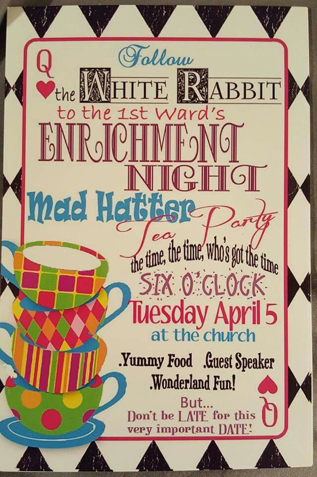 Enrichment Mad hatter tea party invitations | My parties | Pinterest ...