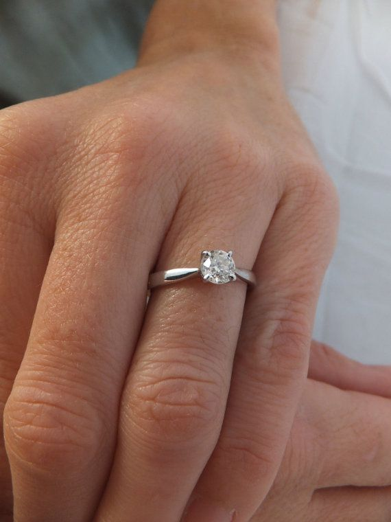Vintage 1/2 ct Old Cushion Cut Diamond Solitaire by CandyBlady