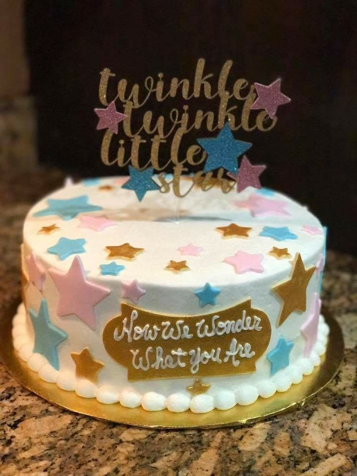 Twinkle Twinkle Little Star Gender Reveal Cake Gender Reveal Cake Gender Reveal Themes Simple Gender Reveal