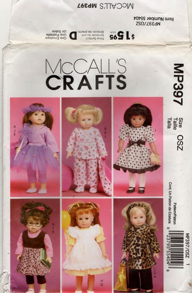 MP397 M6005 McCall's Pattern Doll Clothes 18 Inch Fits American Girl Uncut