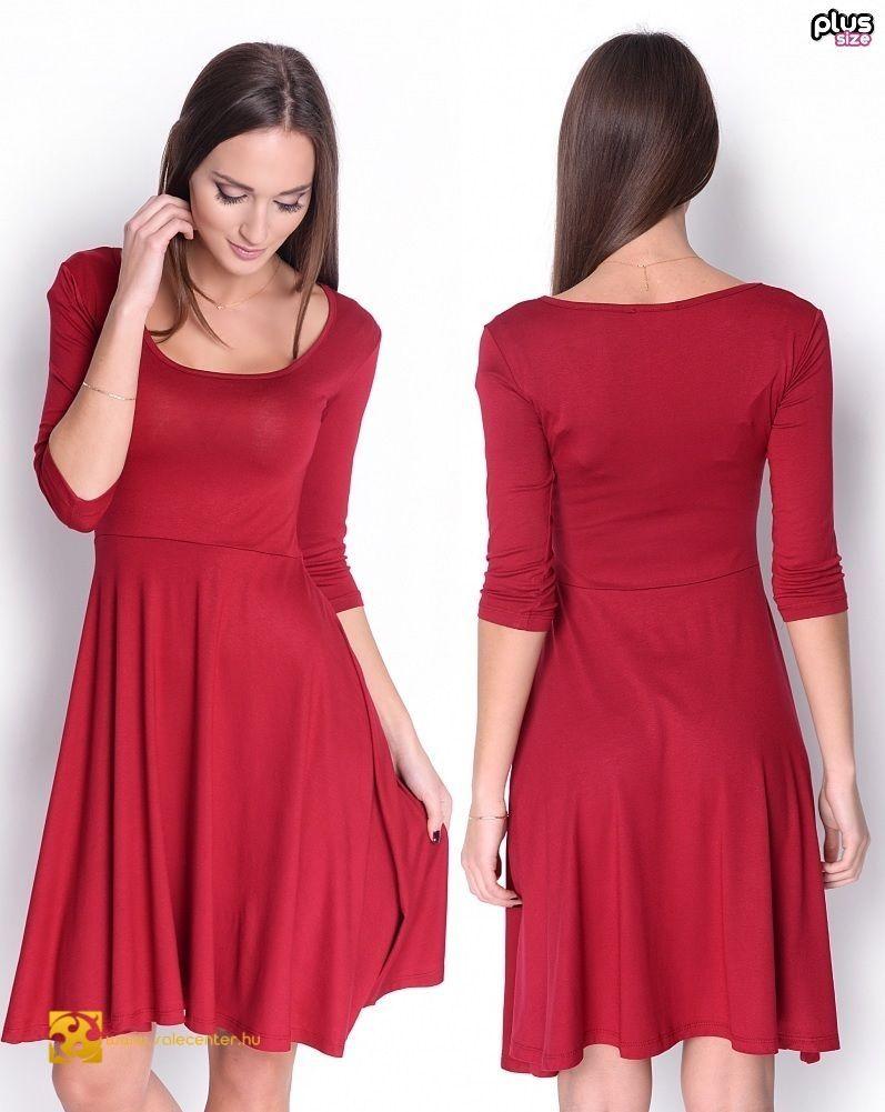 1308378396 3/4-es ujjú ruha bő aljjal 5 színben (S-M,L-XL,2XL-3XL) ekkor: 2019 | Női  divat