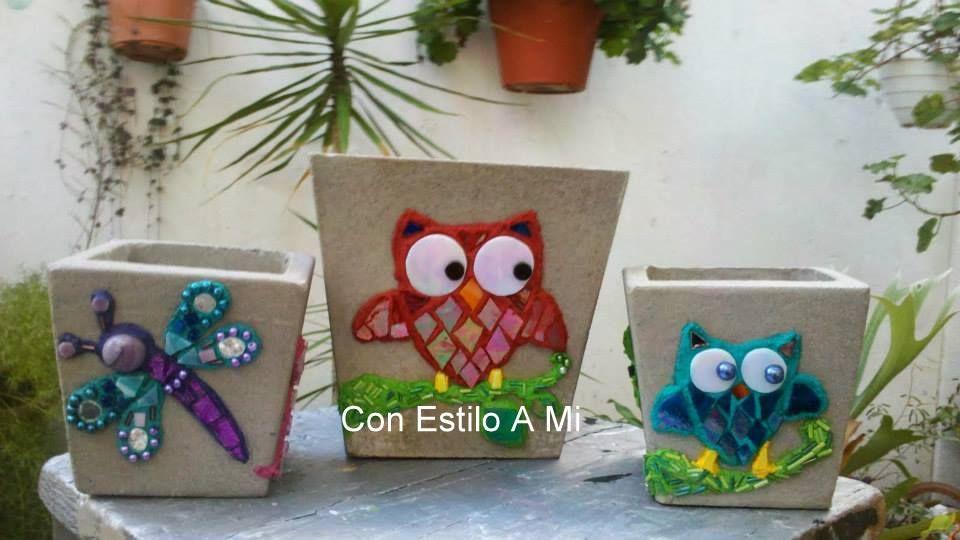Macetas con cemento art stico y vitromosaico mis for Macetas de cemento