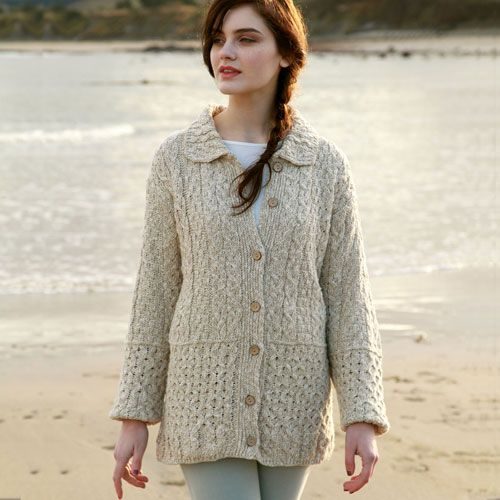 Cotton Linen Irish Sweater This classic Aran sweater has received ...