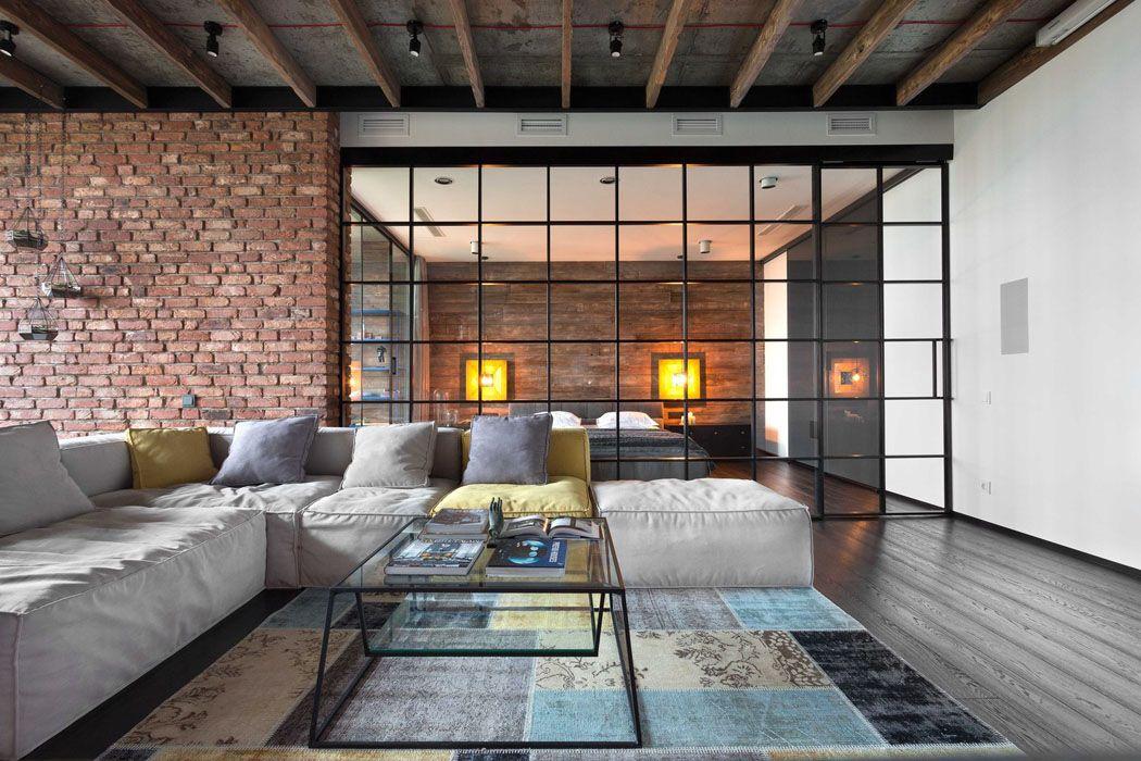 beau loft industriel kiev au design int rieur r solument masculin mur en brique poutre. Black Bedroom Furniture Sets. Home Design Ideas