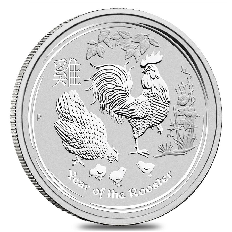 2017 10 Oz Silver Lunar Year Of The Rooster Bu Australian Perth Mint In Capsule Silver Bullion Coins Silver Coins Silver Bullion