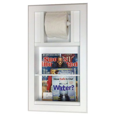 Wg Wood Recessed Bevel Frame Magazine Rack With Toilet Paper Mer