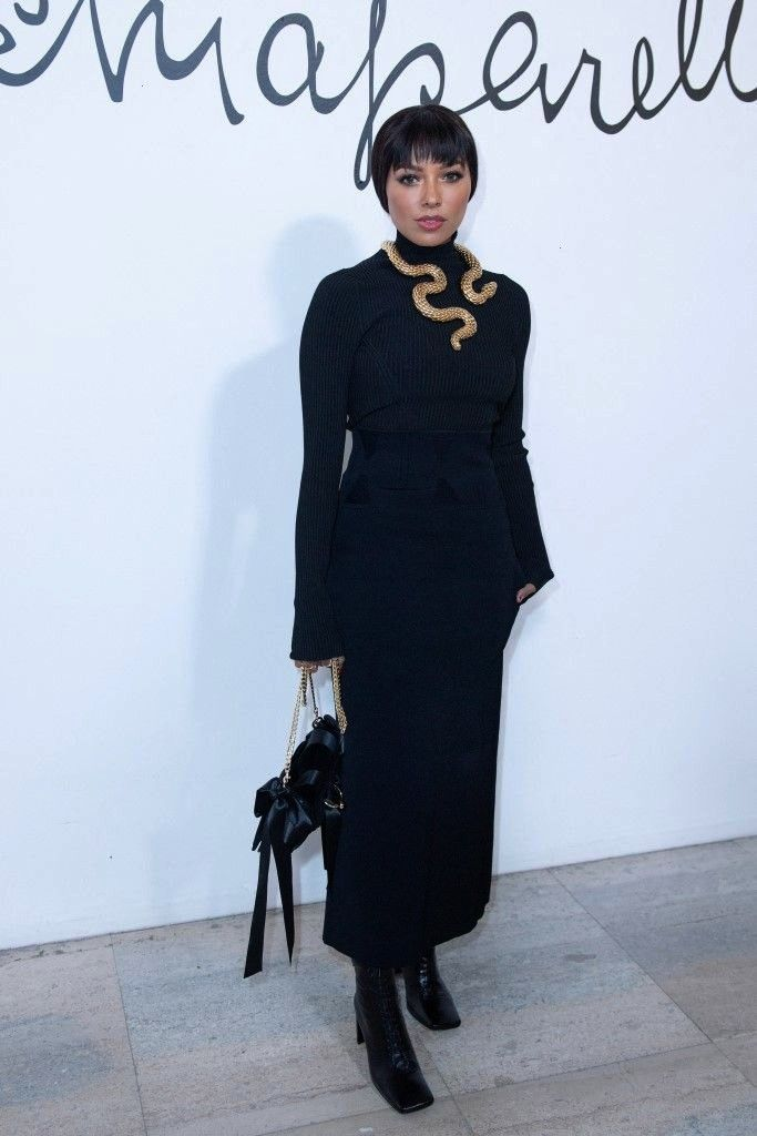 Graham Attend Schiaparelli Haute Couture SpringSummer 2020 Show in Paris Kat Graham in Black Sweater With Skirt During Attend Schiaparelli Haute Couture SpringSummer 2020...