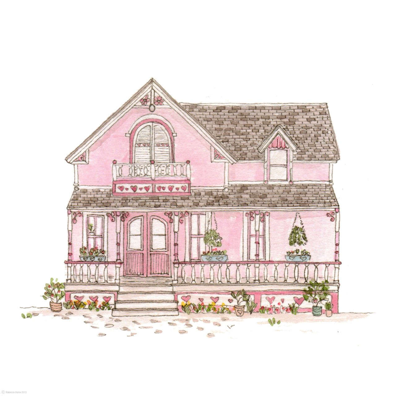 House Illustration, House Drawing