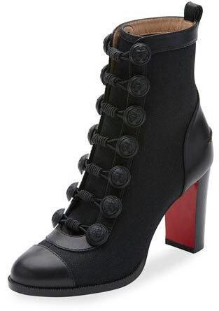#ChristianLouboutin Who Dances Button 85mm #RedSole #Bootie, #Black