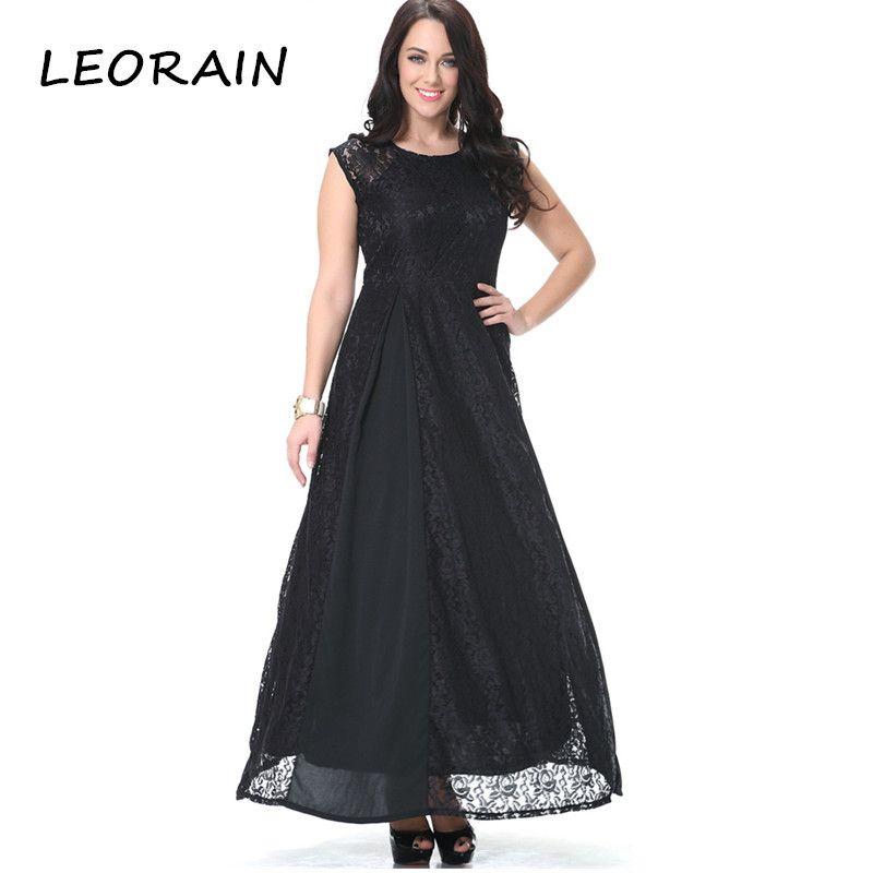 6XL Plus Size 2017 Lace Stitching Sleeveless Black Maxi Summer Women Vintage Dress Ukraine Ropa Mujer American Apparel LEORAIN