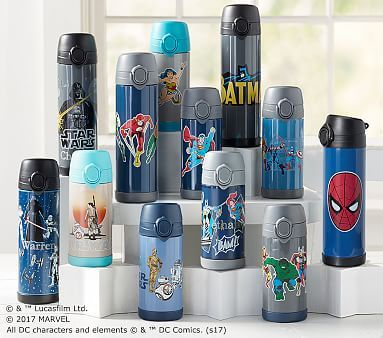 Pottery Barn Kids Large Backpack Water Bottle Lunch Box Thermos Gray Marvel New