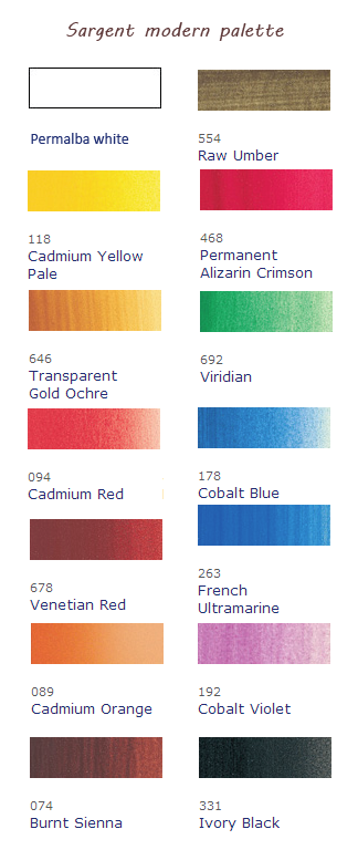 John Singer Sargent's Palette, modern colour equivalents from Winsor & Newton