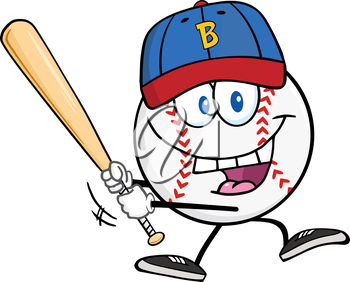 Baseball Cartoon Baseball Balls Baseball Bat Vector