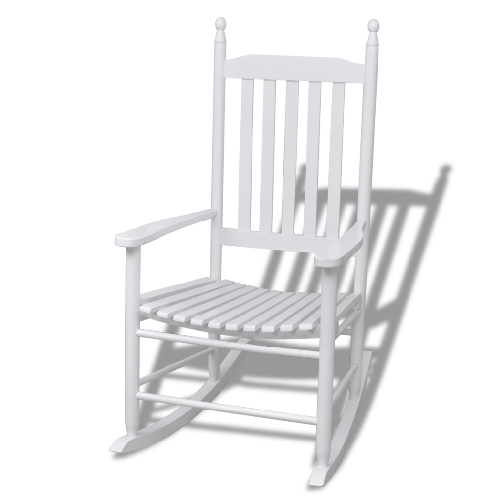 White Rocking In White Curved Lines Wooden Chair Lovdock Com In