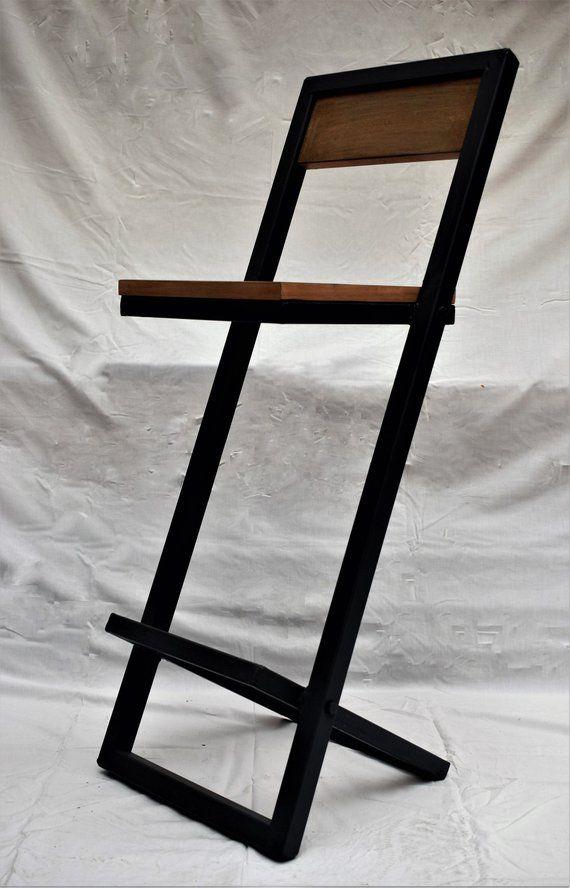 Sedie In Ferro E Legno.Sgabello In Legno E Ferro Fatto A Mano Stile Industriale
