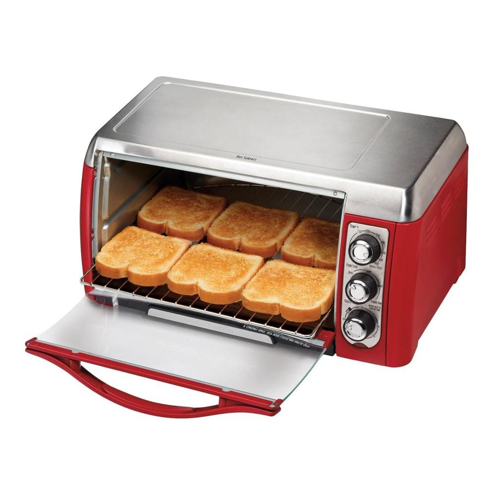 Electric Toaster Oven Broiler Countertop Stainless Steel Red 6