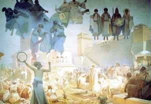 Alphonse Maria Mucha - The Introduction of the Slavonic Liturgy, 1912
