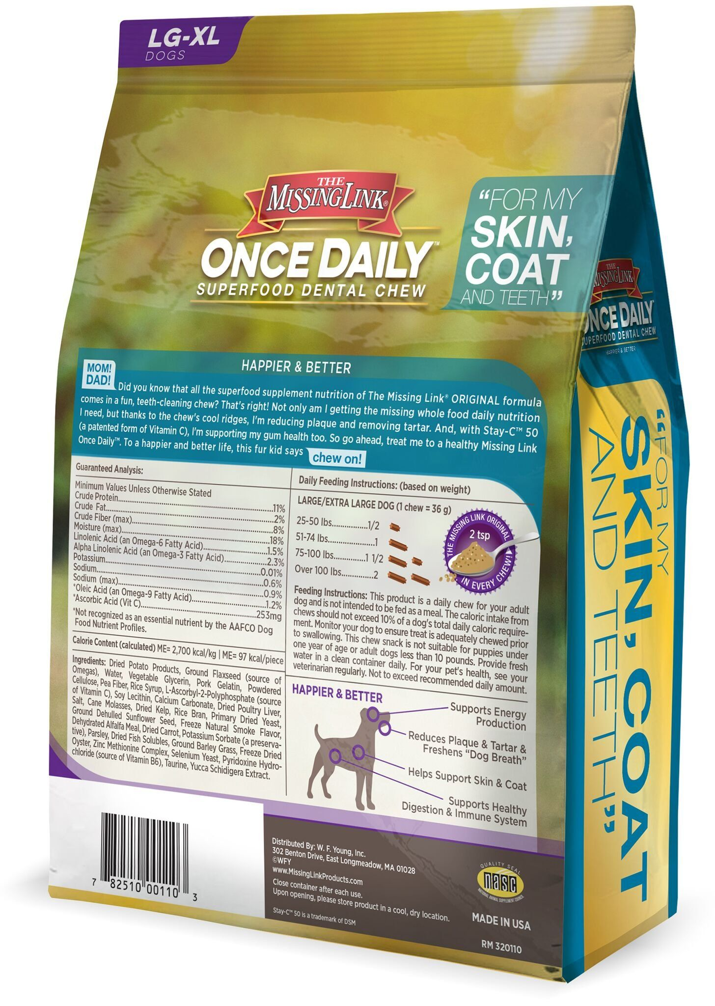 The Missing Link Once Daily All Natural Omega Dental Chew Skin Coat And Teeth L Xl Dog 28 Day Supply Make Certain To Have A Look A Dental Dog Treats Dogs