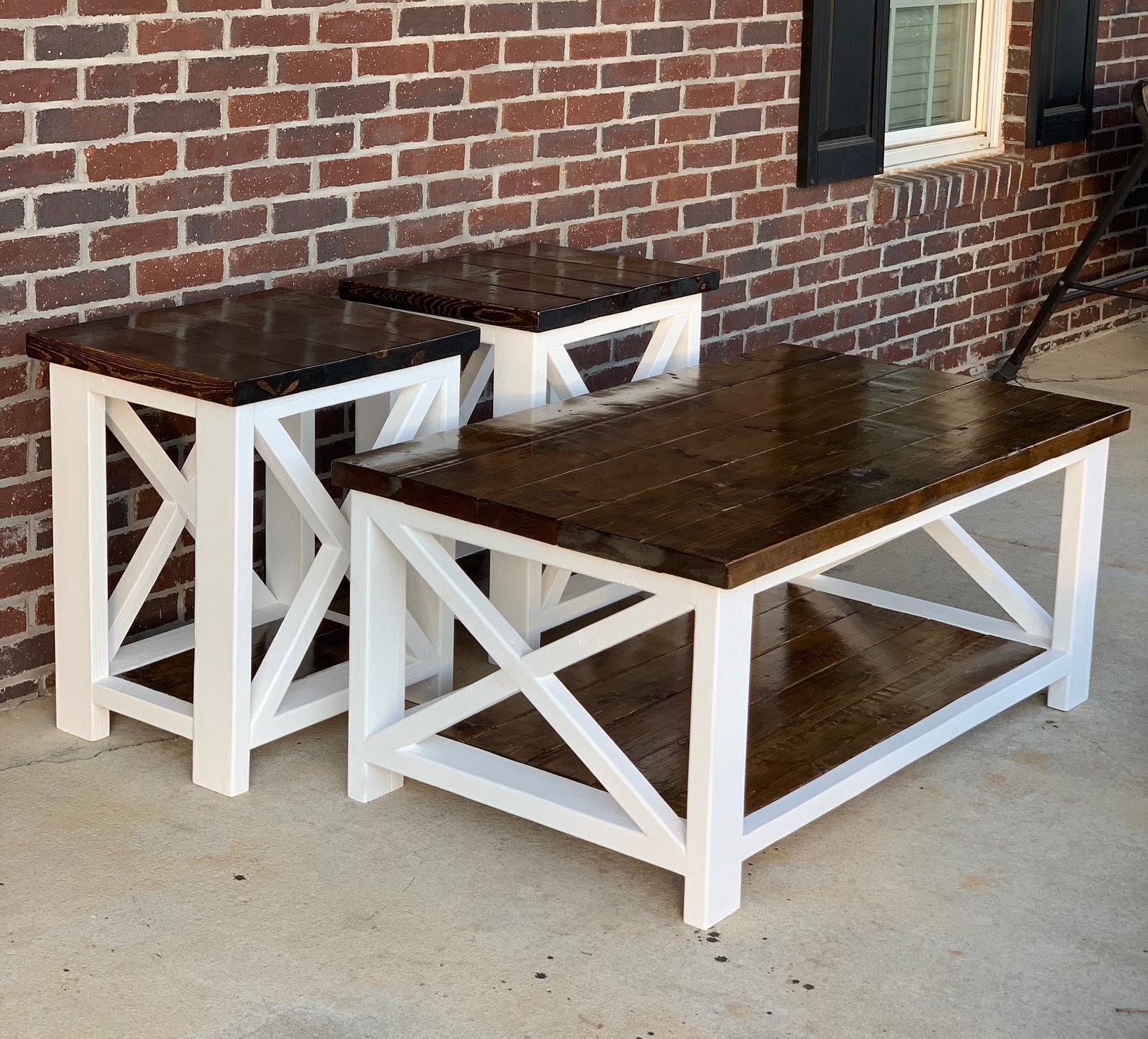 Farmhouse coffee table end table set etsy farmhouse