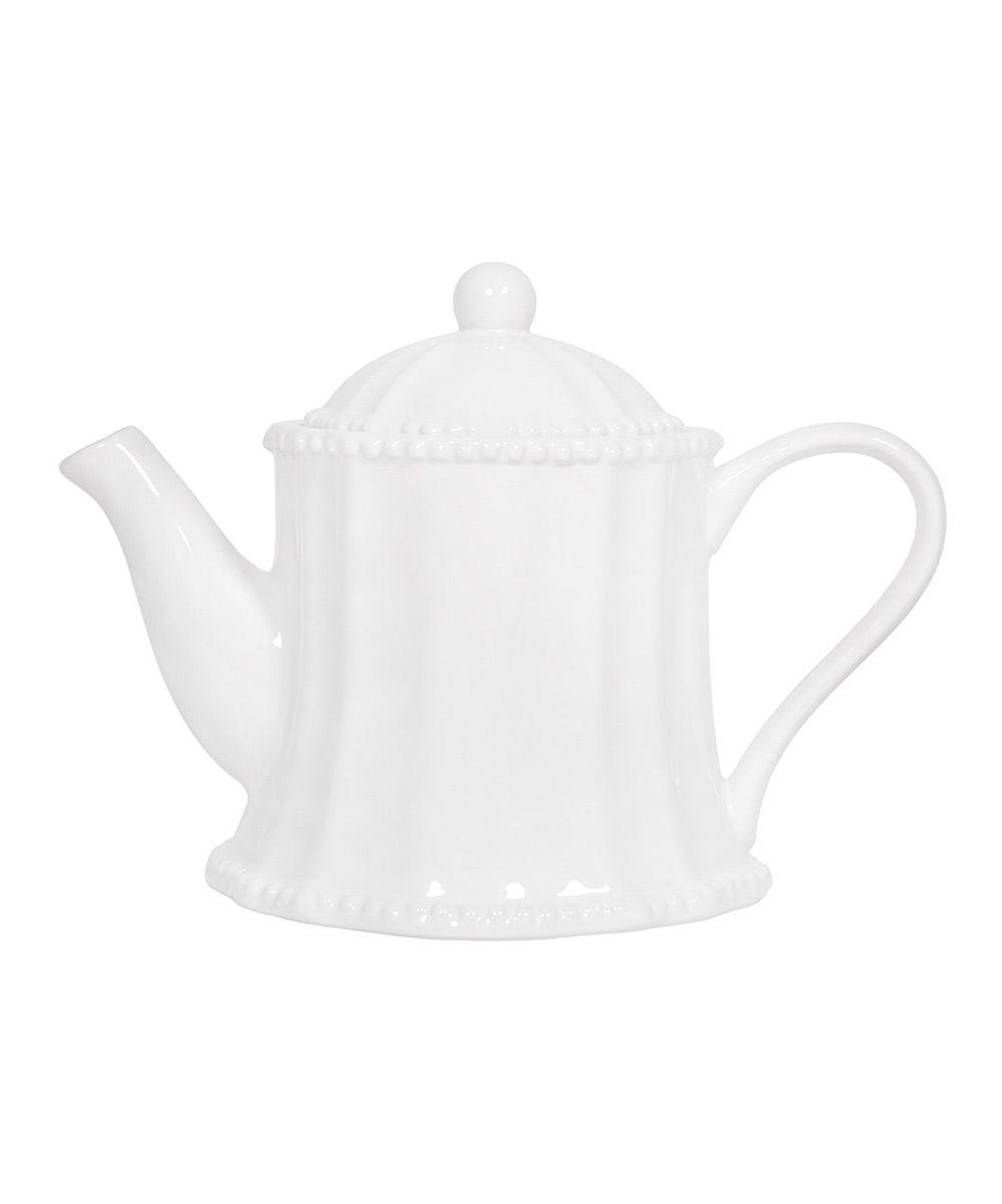 classic white teapot
