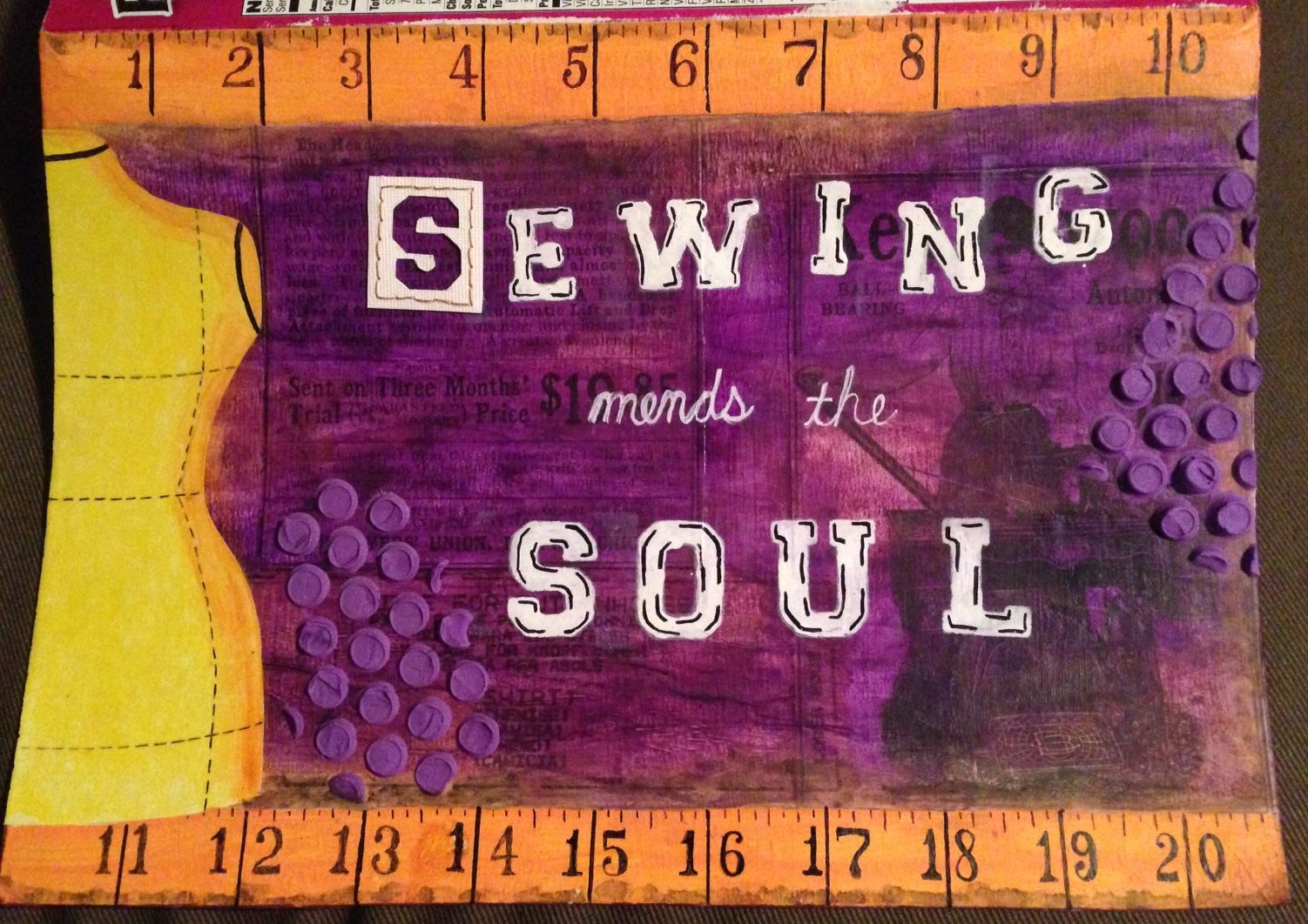 """""""Sewing mends the soul"""" cereal box mixed media art journal page from https://craftyjosephine.wordpress.com"""