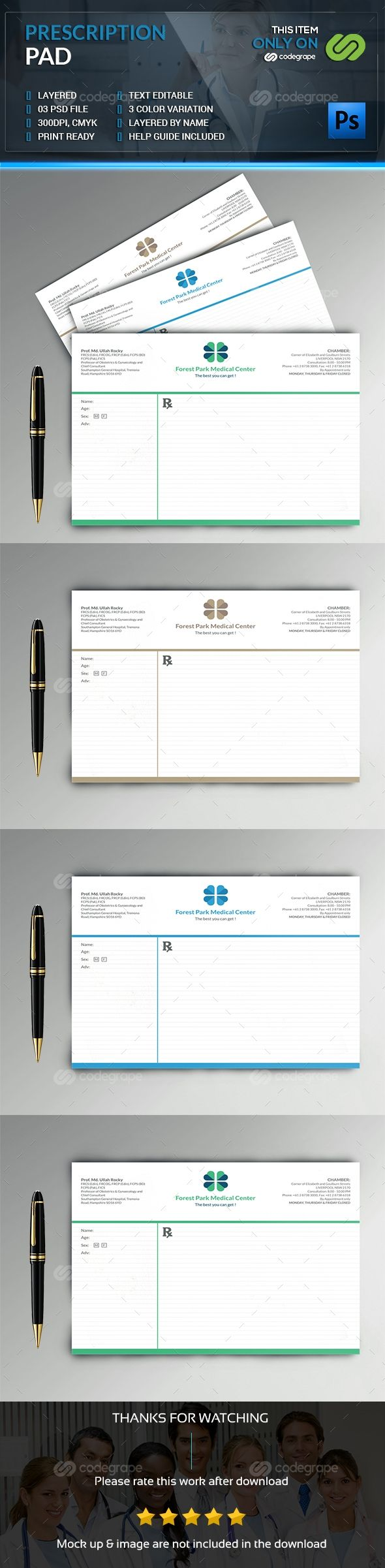 Prescription Pad  Brand Identity Form Design And Logos