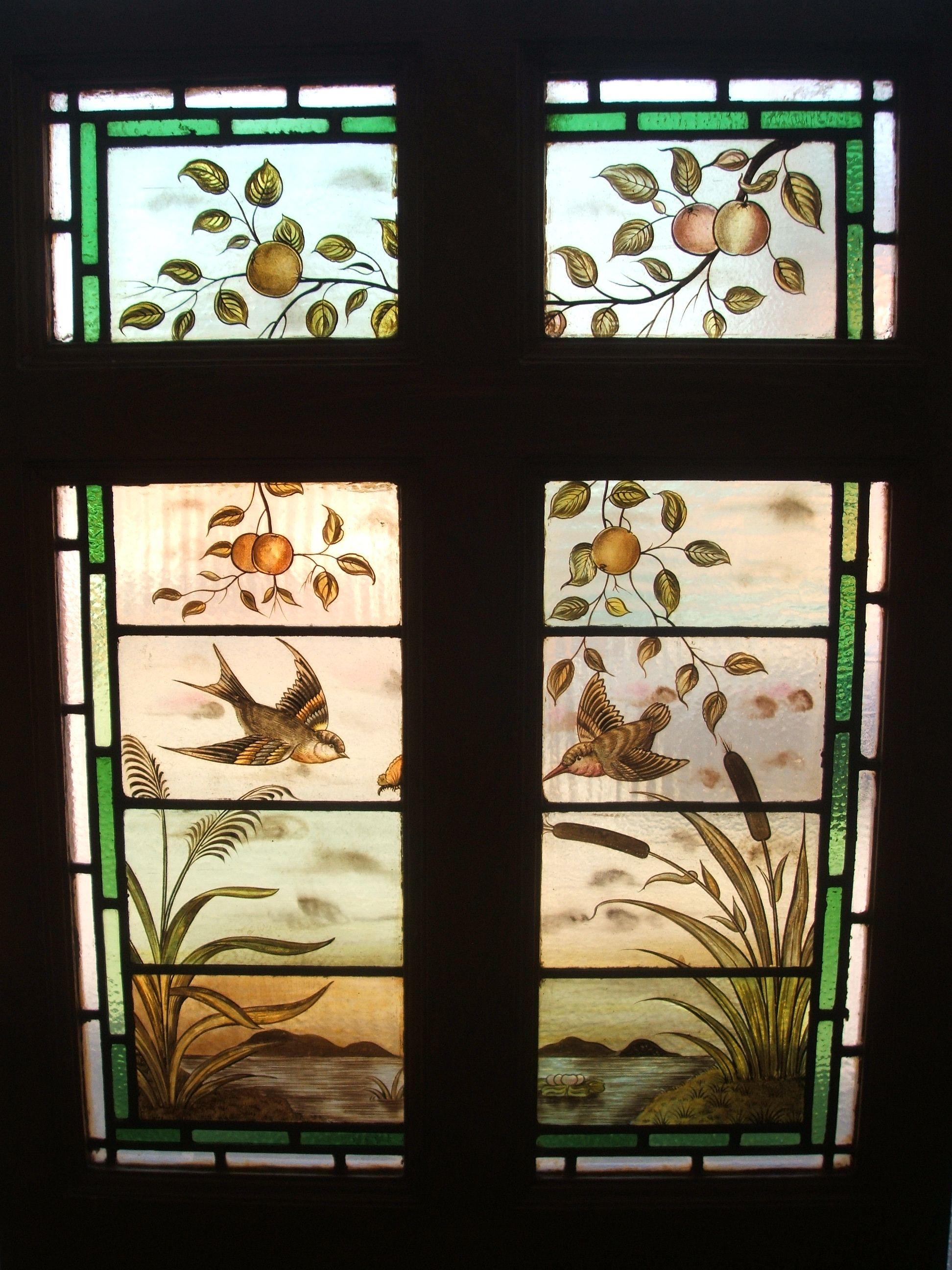 Traditional Victorian Painted And Stained Glass Door Panels