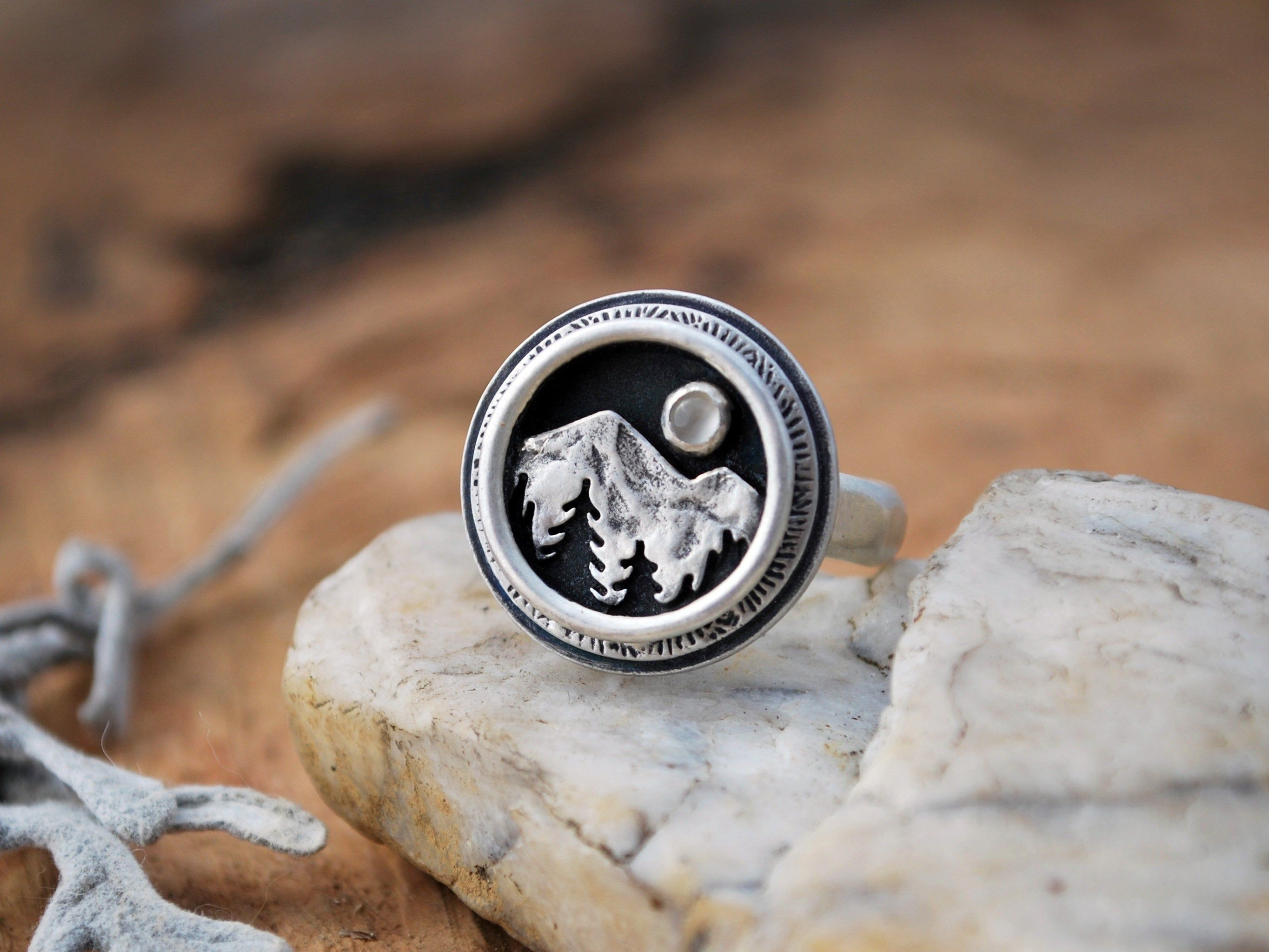 Mountain Shadowbox Ring Moonstone and Silver Mountain