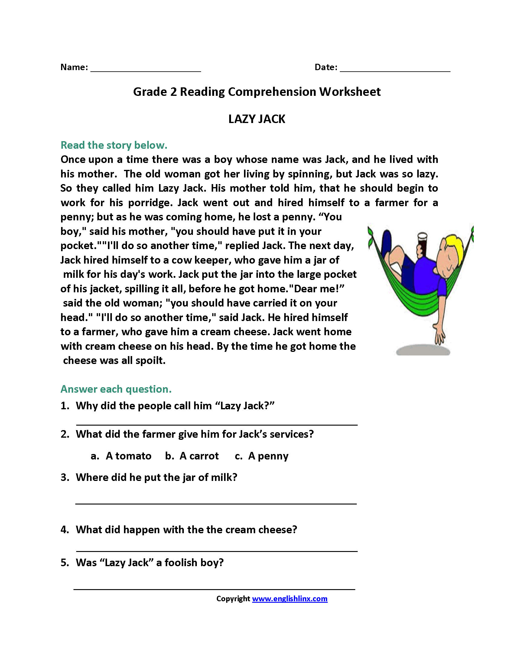 Lazy Jack Second Grade Reading Worksheets With Images
