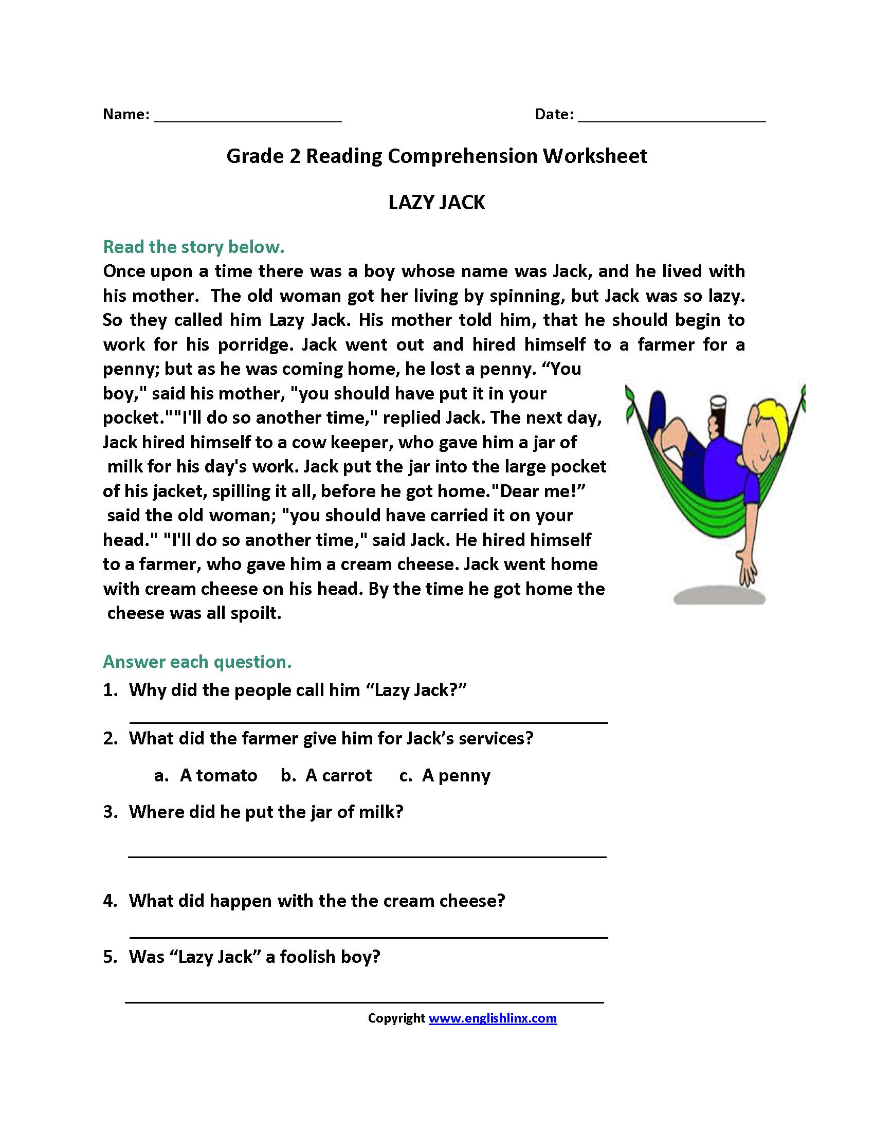 Lazy Jack Second Grade Reading Worksheets