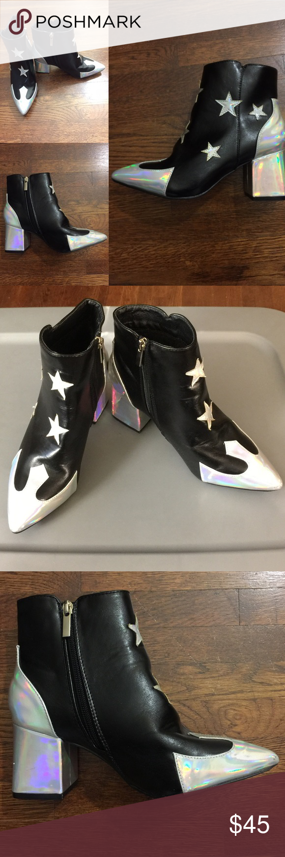 Daisy Street Black Silver Holographic Boots Very good condition ⭐️side zip closure ⭐️ 2 1/2 inch heel⭐️sole under left boot worn⭐️block heel ⭐️Super cute‼️ man-made materials ⭐️minor blemishes Daisy Street Shoes Ankle Boots & Booties
