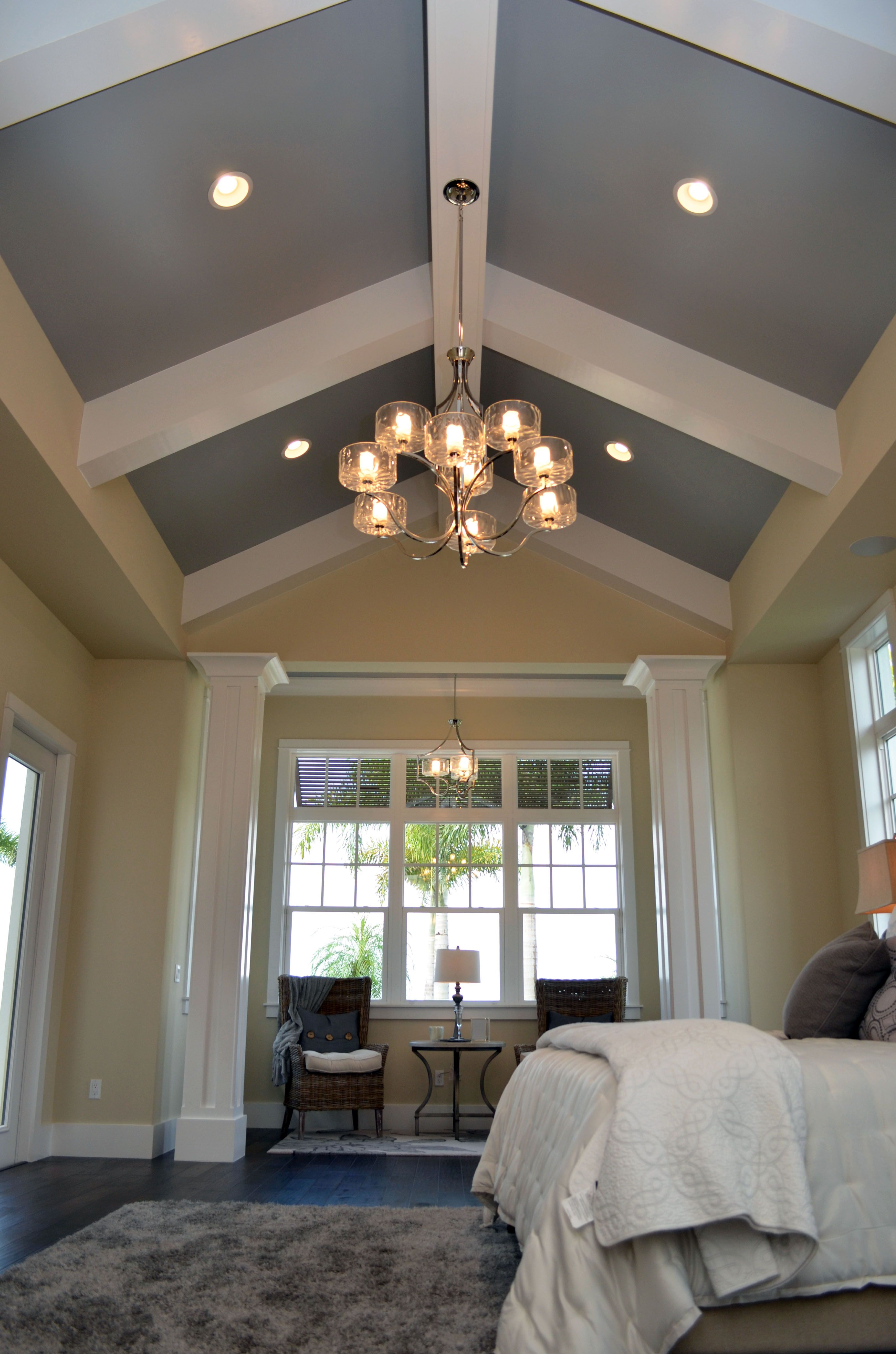 vaulted ceiling master bedroom beam gray wall - google search