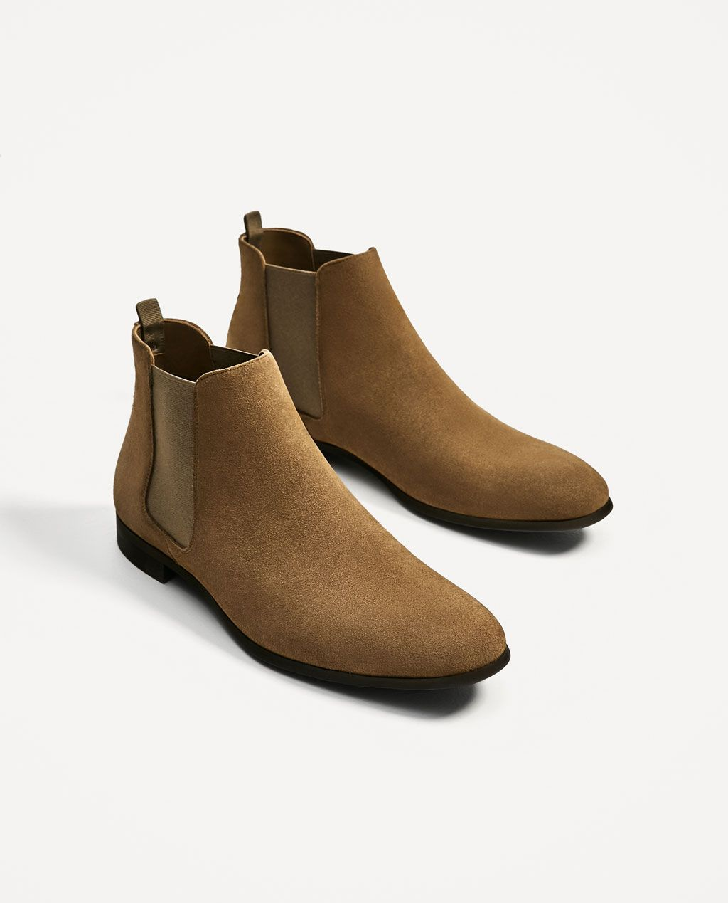 BEIGE LEATHER ANKLE BOOTS WITH ELASTICS-Boots and Ankle Boots-SHOES-MAN-