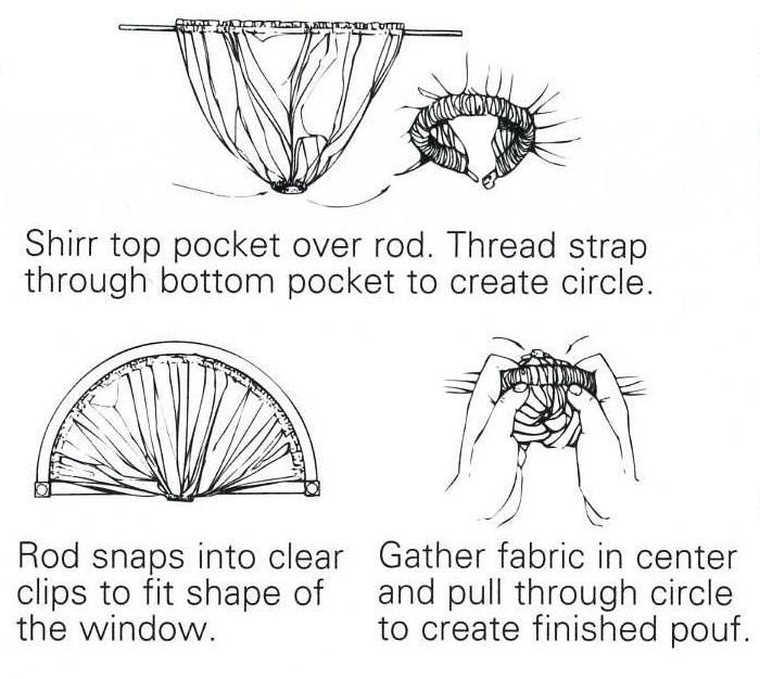 Making a sunburst curtains from a bendable curtain rod - arched ...